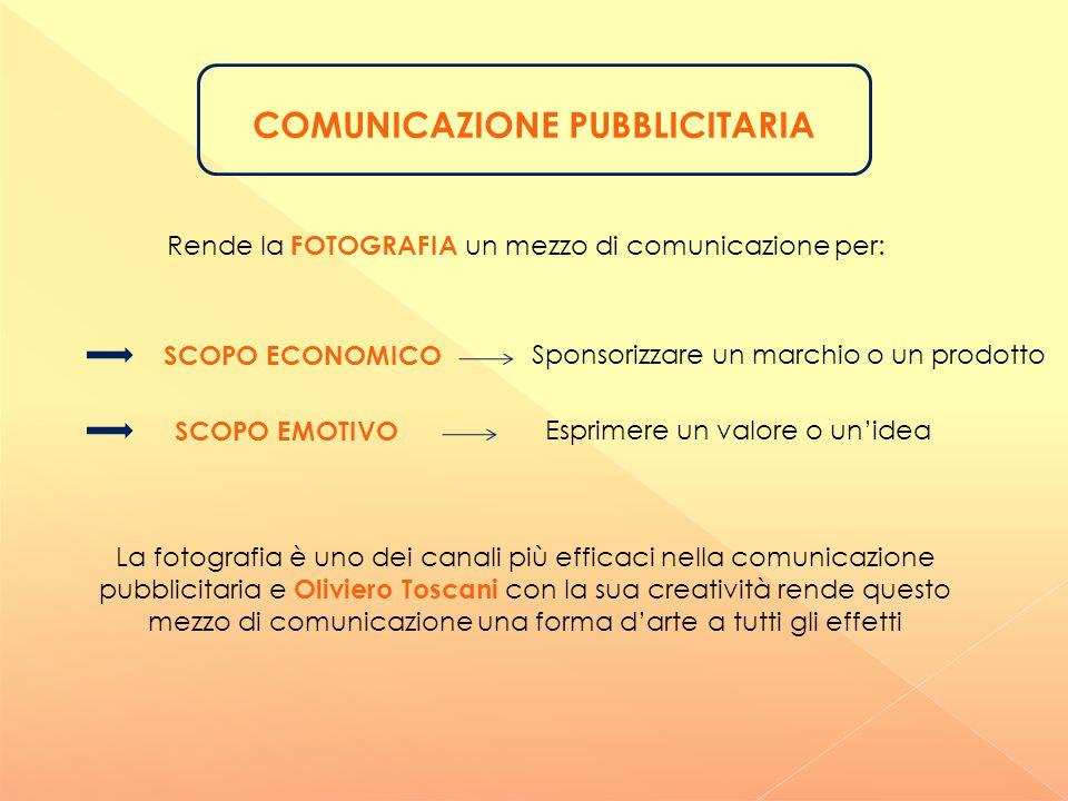 COMUNICAZIONE PUBBLICITARIA Rende la FOTOGRAFIA un mezzo di comunicazione per: Sponsorizzare un marchio o un prodotto SCOPO ECONOMICO SCOPO EMOTIVO Es