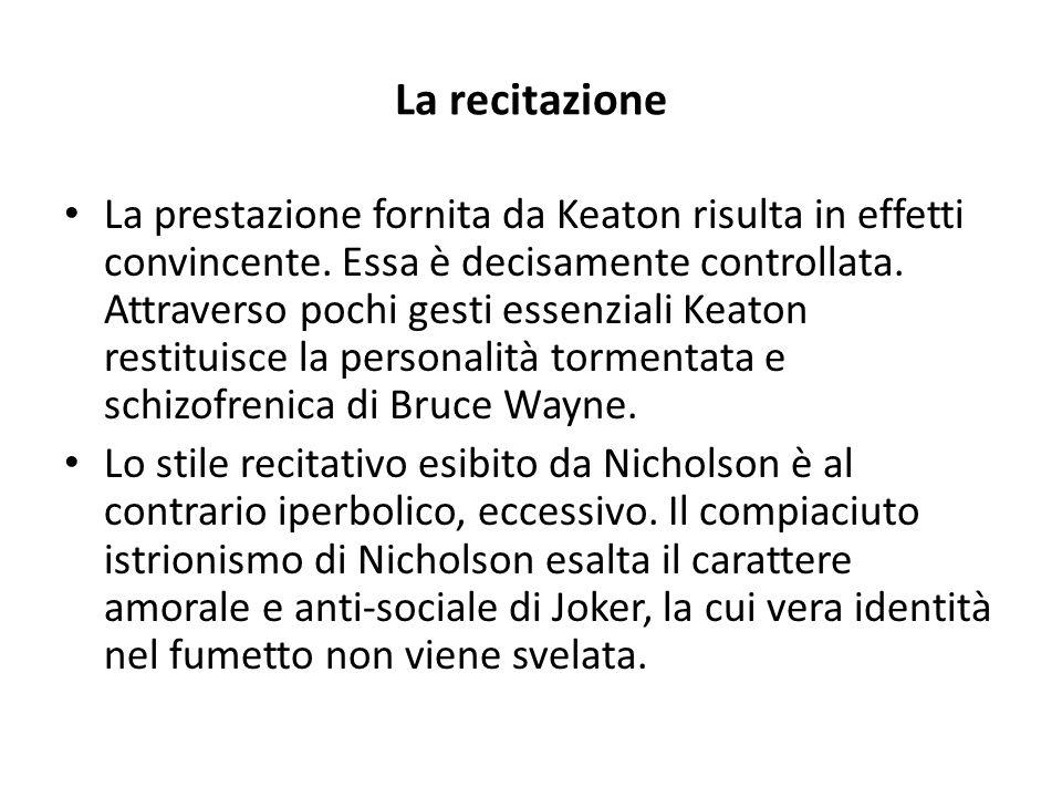 La recitazione La prestazione fornita da Keaton risulta in effetti convincente. Essa è decisamente controllata. Attraverso pochi gesti essenziali Keat