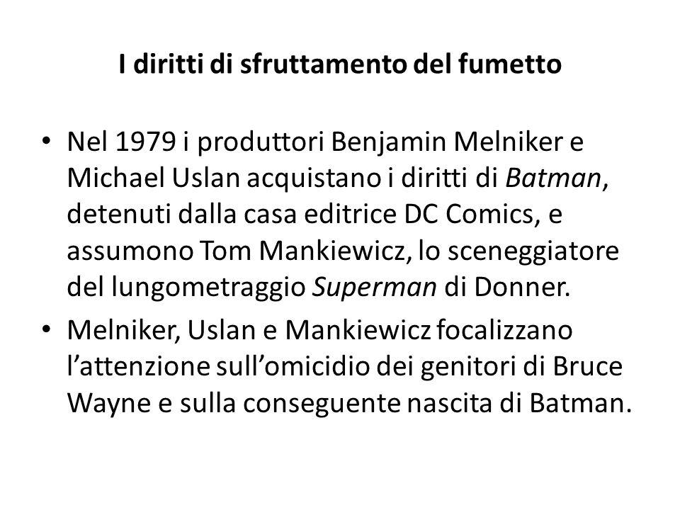 I diritti di sfruttamento del fumetto Nel 1979 i produttori Benjamin Melniker e Michael Uslan acquistano i diritti di Batman, detenuti dalla casa edit