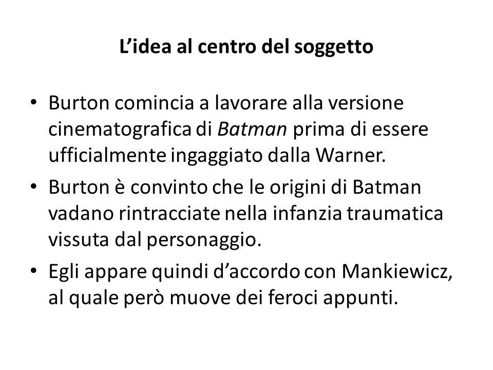 L'idea al centro del soggetto Burton comincia a lavorare alla versione cinematografica di Batman prima di essere ufficialmente ingaggiato dalla Warner