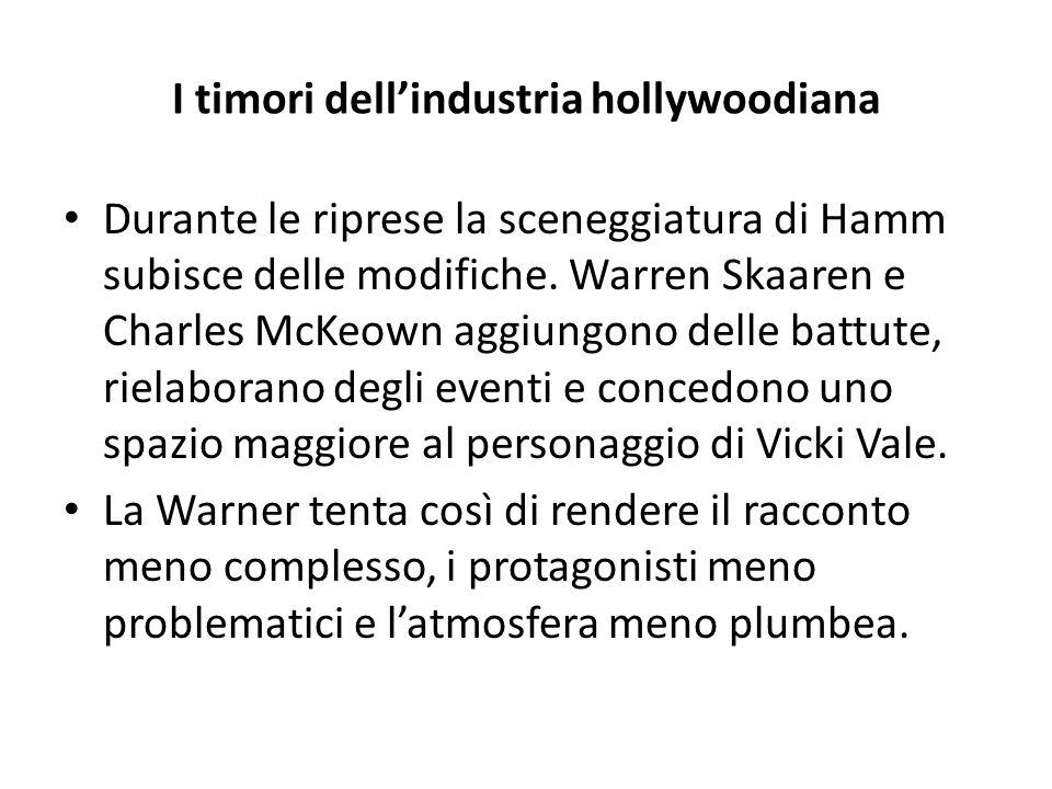 I timori dell'industria hollywoodiana Durante le riprese la sceneggiatura di Hamm subisce delle modifiche. Warren Skaaren e Charles McKeown aggiungono
