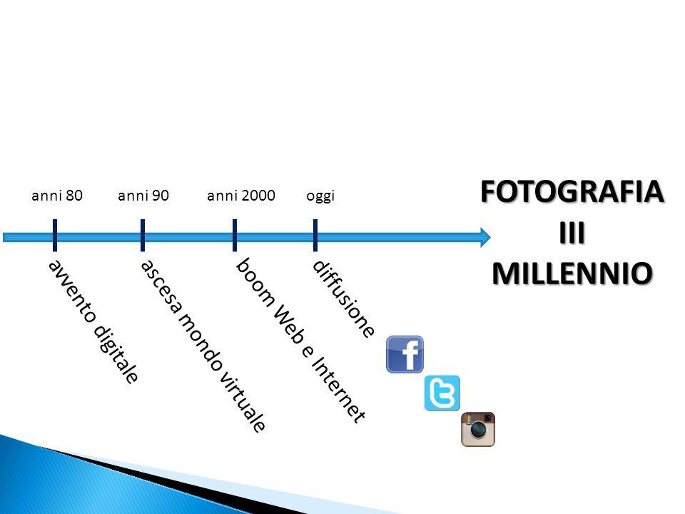 avvento digitale anni 80anni 90anni 2000oggi ascesa mondo virtualeboom Web e Internetdiffusione FOTOGRAFIA III MILLENNIO