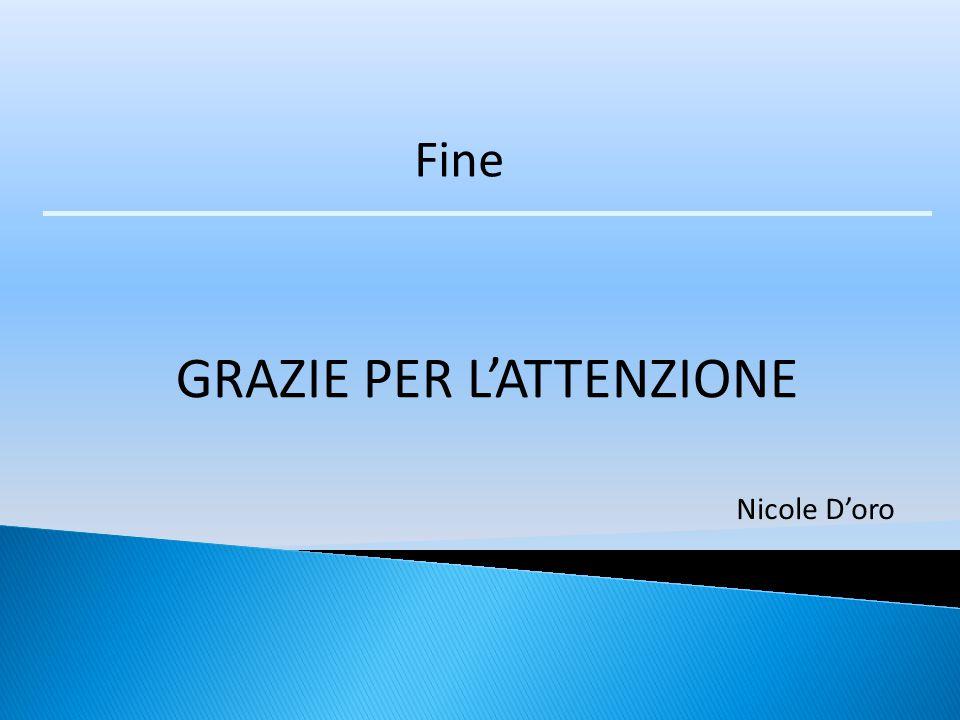 Fine GRAZIE PER L'ATTENZIONE Nicole D'oro