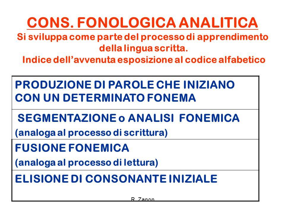 CONS. FONOLOGICA ANALITICA Si sviluppa come parte del processo di apprendimento della lingua scritta. Indice dell'avvenuta esposizione al codice alfab