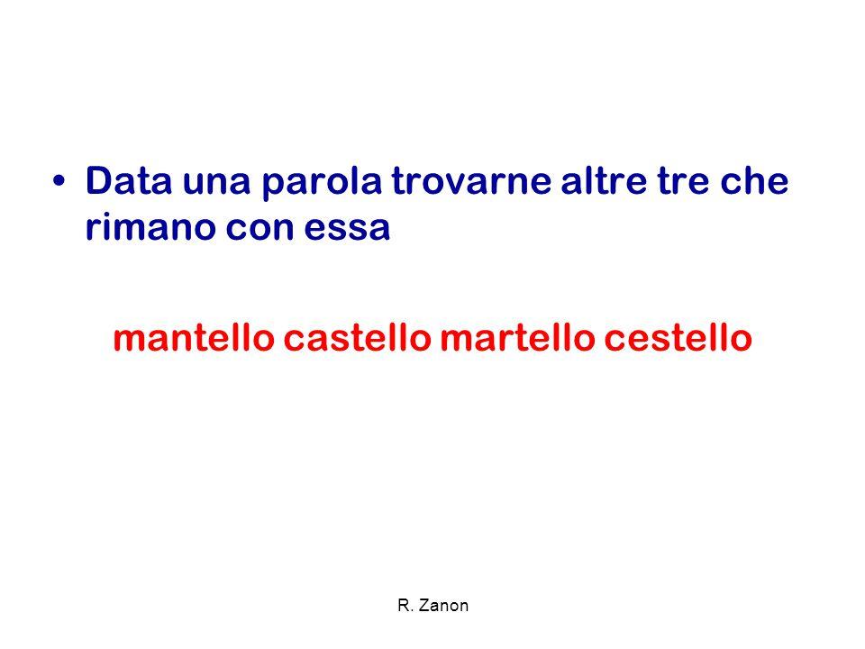 Data una parola trovarne altre tre che rimano con essa mantello castello martello cestello R. Zanon