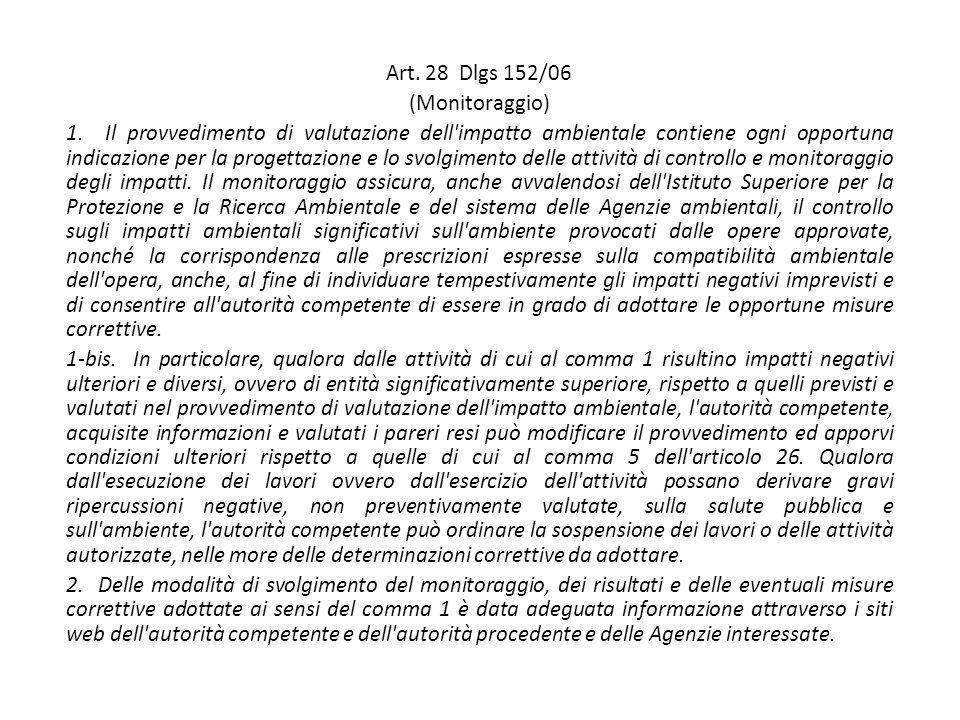 Art. 28 Dlgs 152/06 (Monitoraggio) 1.