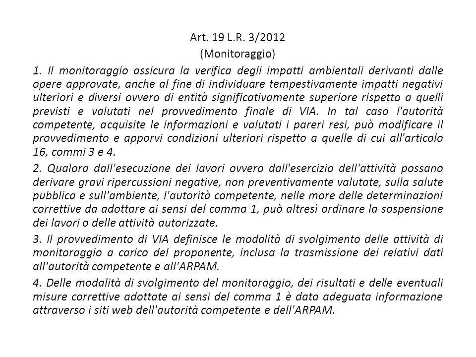 Art. 19 L.R. 3/2012 (Monitoraggio) 1.