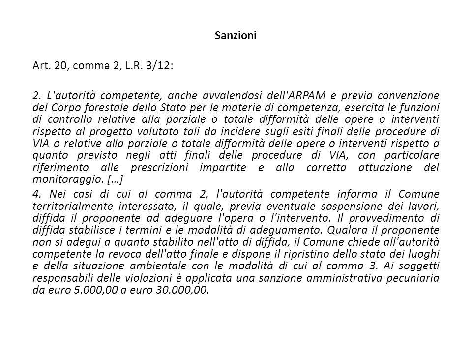 Sanzioni Art. 20, comma 2, L.R. 3/12: 2.