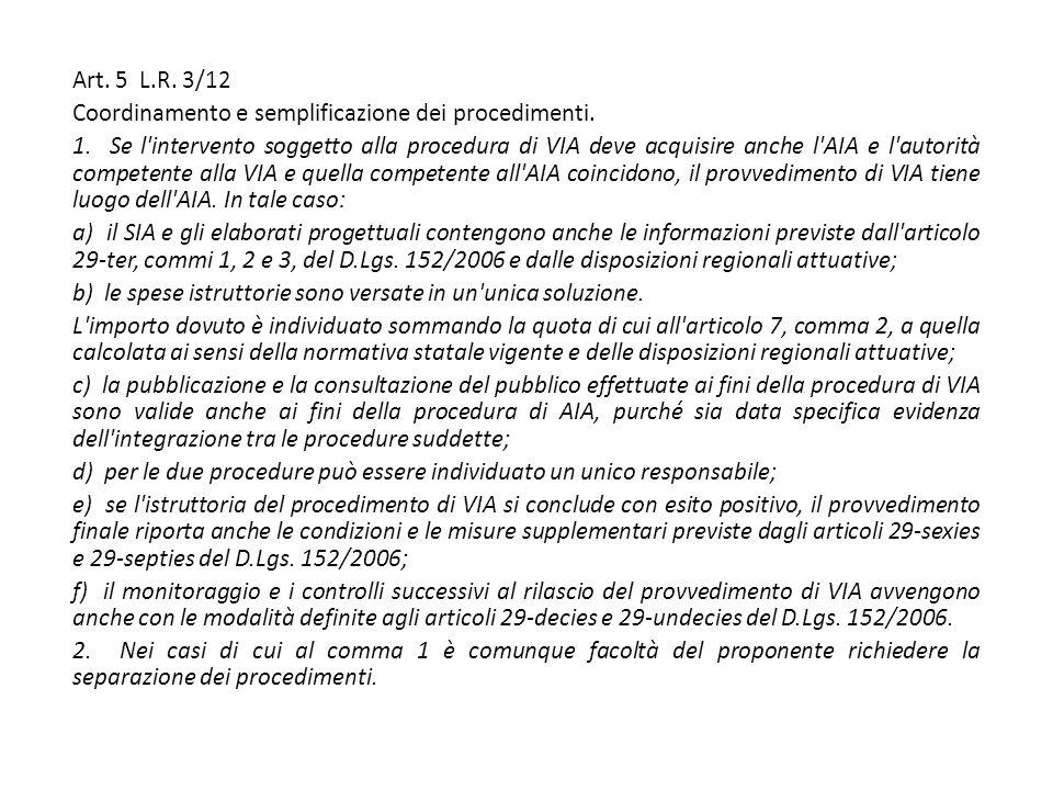 Art. 5 L.R. 3/12 Coordinamento e semplificazione dei procedimenti.