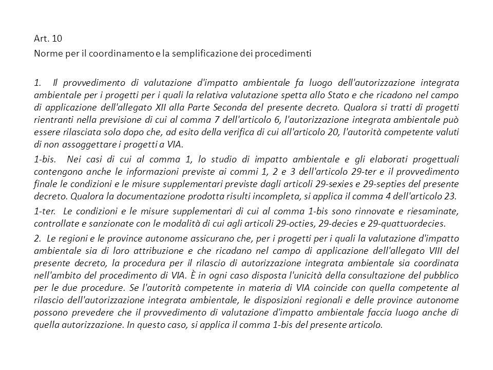 Art. 10 Norme per il coordinamento e la semplificazione dei procedimenti 1.