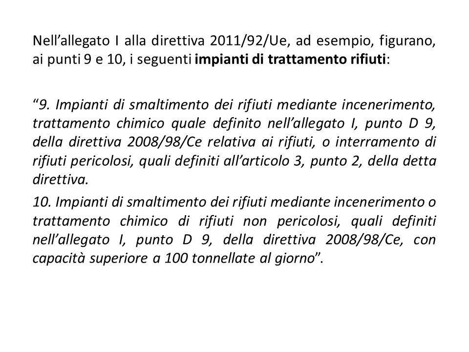 Nell'allegato I alla direttiva 2011/92/Ue, ad esempio, figurano, ai punti 9 e 10, i seguenti impianti di trattamento rifiuti: 9.