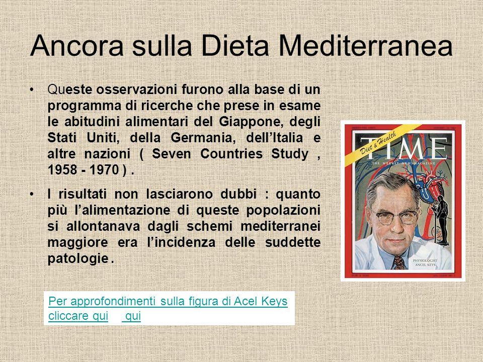 La scoperta della Dieta Mediterranea è da attribuire al medico nutrizionista ANCEL KEYS che nel 1945, al seguito della quinta armata, sbarcò a Salerno