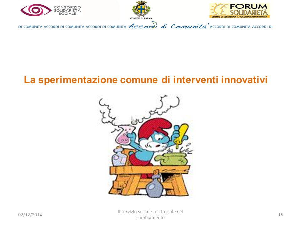La sperimentazione comune di interventi innovativi 02/12/2014 Il servizio sociale territoriale nel cambiamento 15