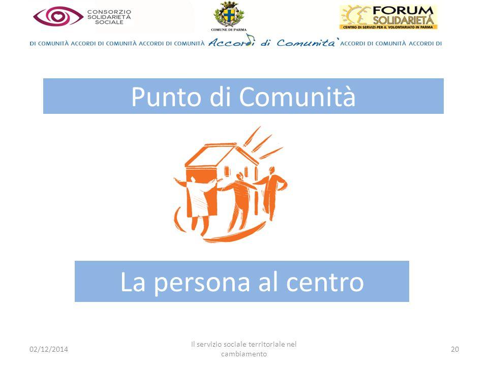 02/12/2014 Il servizio sociale territoriale nel cambiamento 20 Punto di Comunità La persona al centro