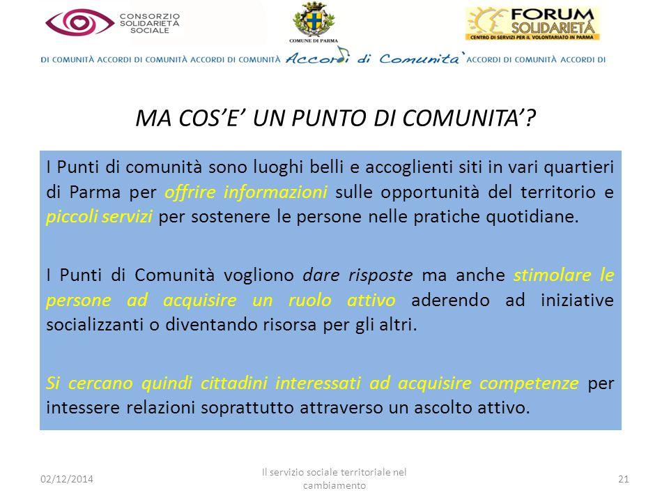 I Punti di comunità sono luoghi belli e accoglienti siti in vari quartieri di Parma per offrire informazioni sulle opportunità del territorio e piccoli servizi per sostenere le persone nelle pratiche quotidiane.