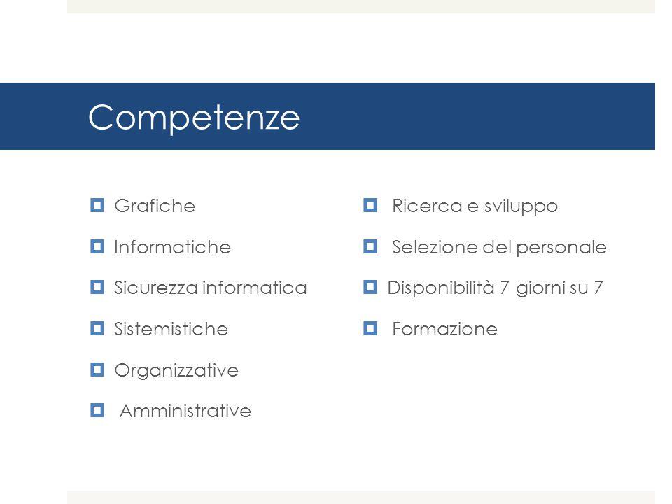Competenze  Grafiche  Informatiche  Sicurezza informatica  Sistemistiche  Organizzative  Amministrative  Ricerca e sviluppo  Selezione del personale  Disponibilità 7 giorni su 7  Formazione
