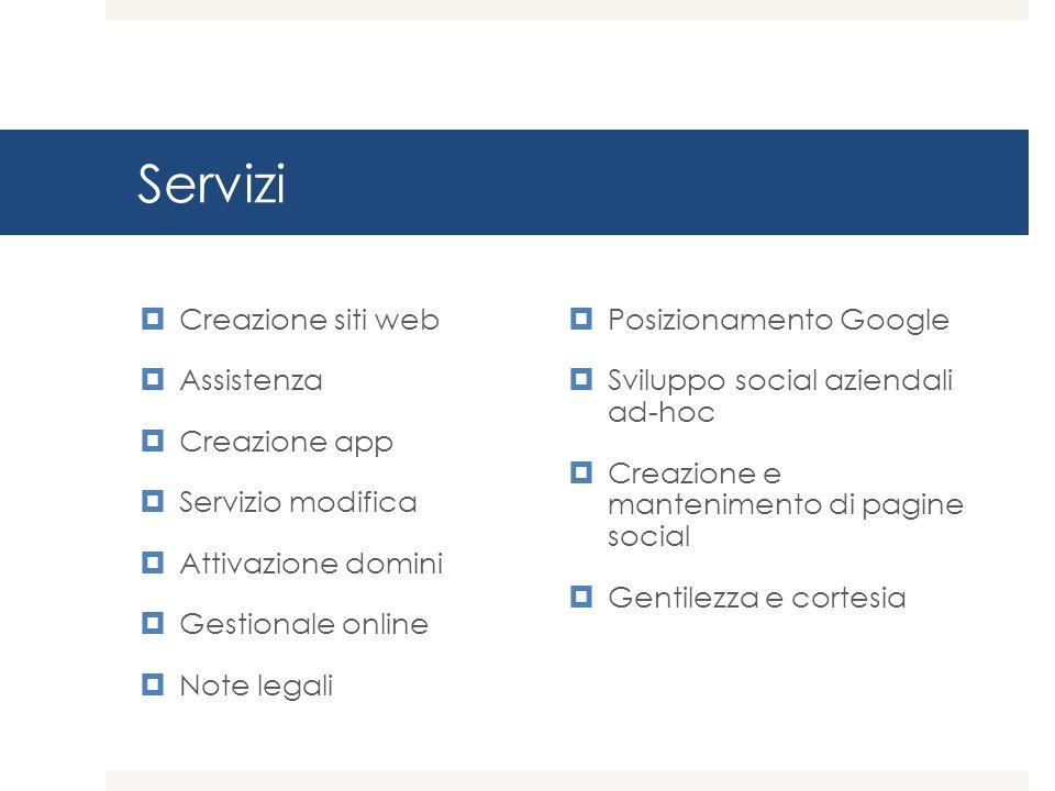 Servizi  Creazione siti web  Assistenza  Creazione app  Servizio modifica  Attivazione domini  Gestionale online  Note legali  Posizionamento