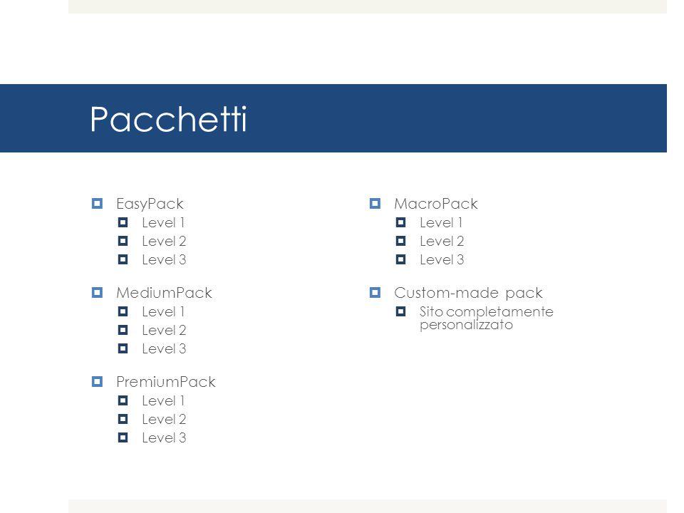 Pacchetti  EasyPack  Level 1  Level 2  Level 3  MediumPack  Level 1  Level 2  Level 3  PremiumPack  Level 1  Level 2  Level 3  MacroPack