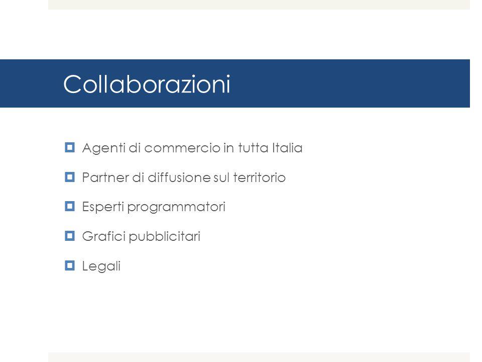 Collaborazioni  Agenti di commercio in tutta Italia  Partner di diffusione sul territorio  Esperti programmatori  Grafici pubblicitari  Legali