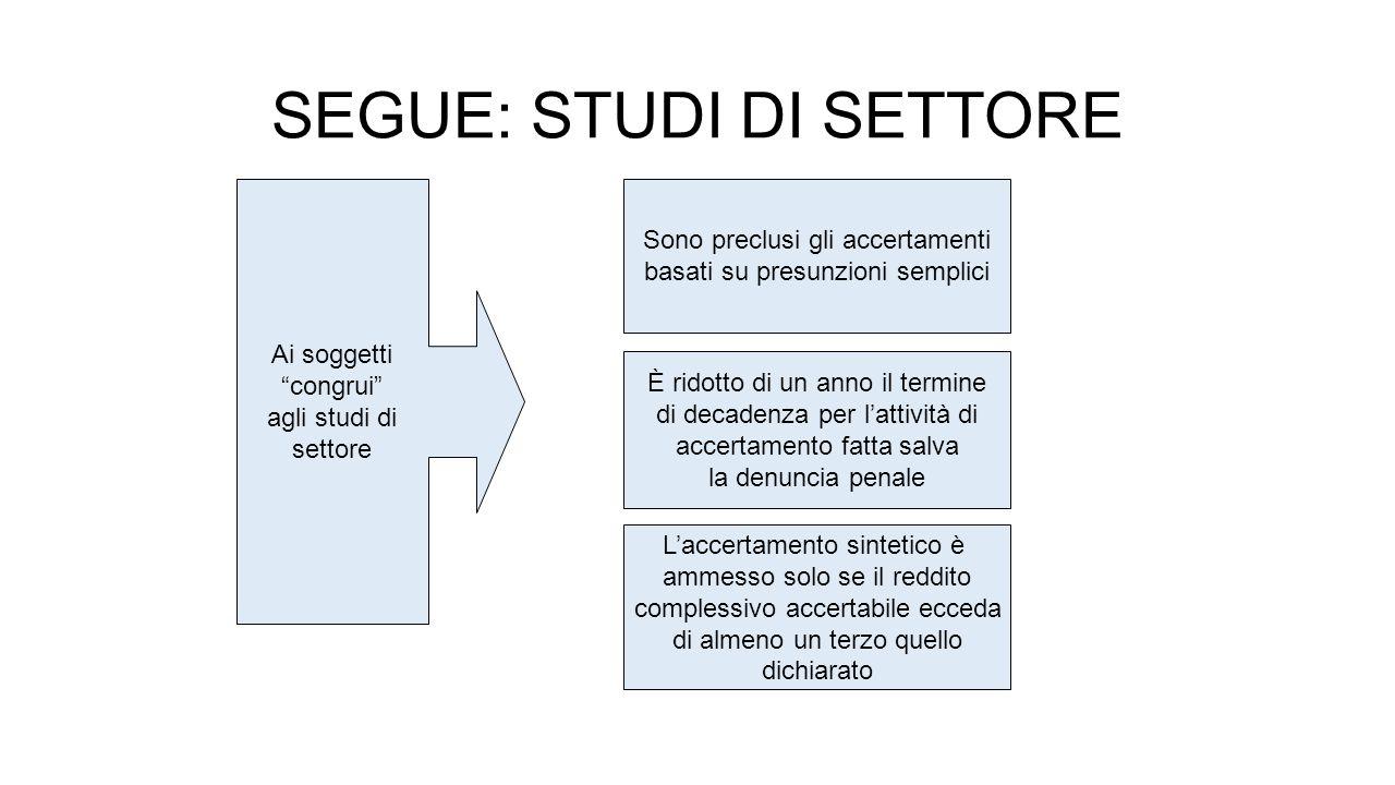 SEGUE: STUDI DI SETTORE Per i soggetti NON congrui e NON coerenti Lo svolgimento dei controlli avviene prioritariamente con l'utilizzo dei poteri di indagine finanziaria