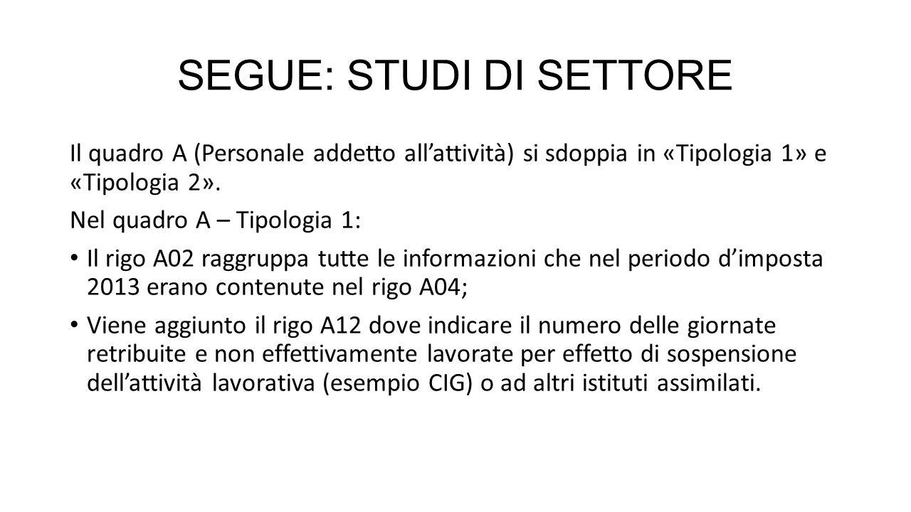 SEGUE: STUDI DI SETTORE Il quadro F (Elementi contabili) si sdoppia in «Tipologia 1» e «Tipologia 2».