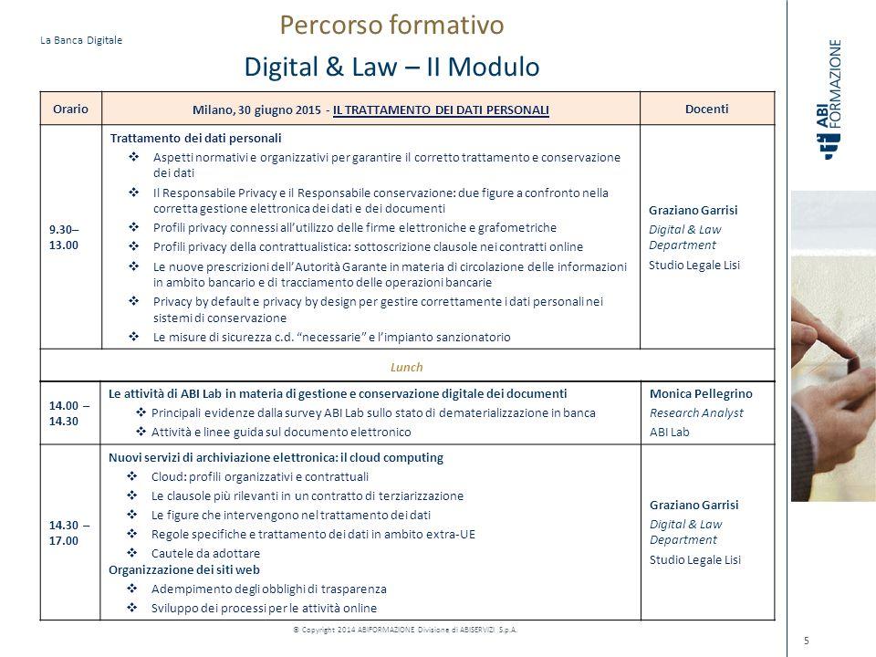 La Banca Digitale © Copyright 2014 ABIFORMAZIONE Divisione di ABISERVIZI S.p.A. 5 Orario Milano, 30 giugno 2015 - IL TRATTAMENTO DEI DATI PERSONALI Do