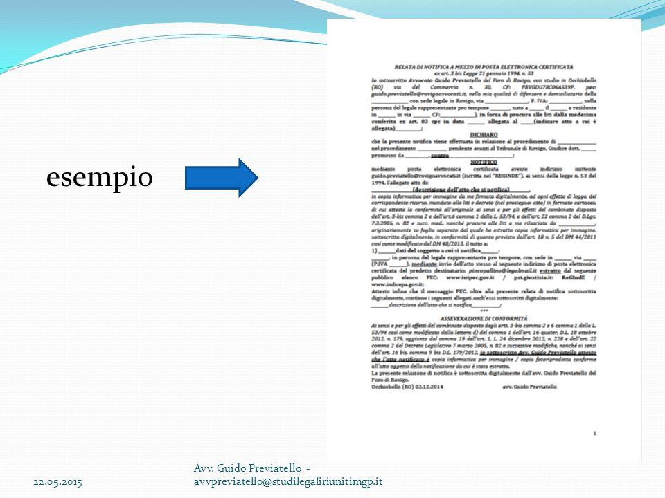 22.05.2015 Avv. Guido Previatello - avvpreviatello@studilegaliriunitimgp.it esempio