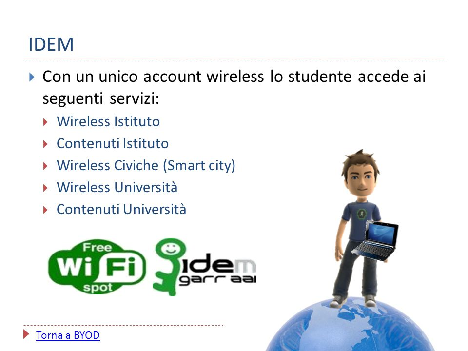 IDEM  Con un unico account wireless lo studente accede ai seguenti servizi:  Wireless Istituto  Contenuti Istituto  Wireless Civiche (Smart city)
