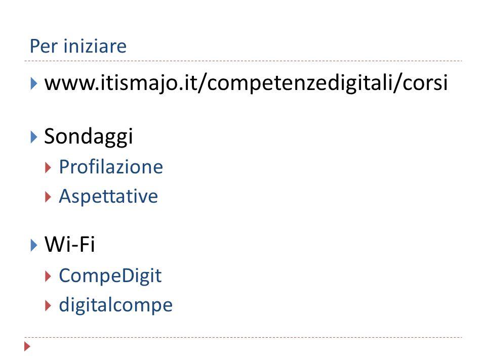 Per iniziare  www.itismajo.it/competenzedigitali/corsi  Sondaggi  Profilazione  Aspettative  Wi-Fi  CompeDigit  digitalcompe