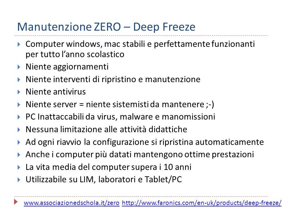Manutenzione ZERO – Deep Freeze  Computer windows, mac stabili e perfettamente funzionanti per tutto l'anno scolastico  Niente aggiornamenti  Nient