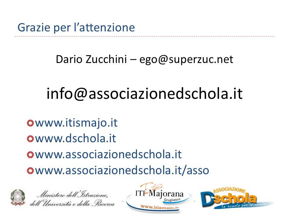 Grazie per l'attenzione Dario Zucchini – ego@superzuc.net info@associazionedschola.it  www.itismajo.it  www.dschola.it  www.associazionedschola.it