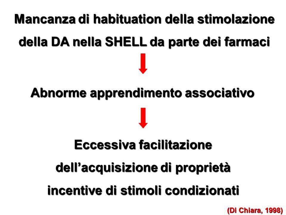 Mancanza di habituation della stimolazione della DA nella SHELL da parte dei farmaci (Di Chiara, 1998) Eccessiva facilitazione dell'acquisizione di pr
