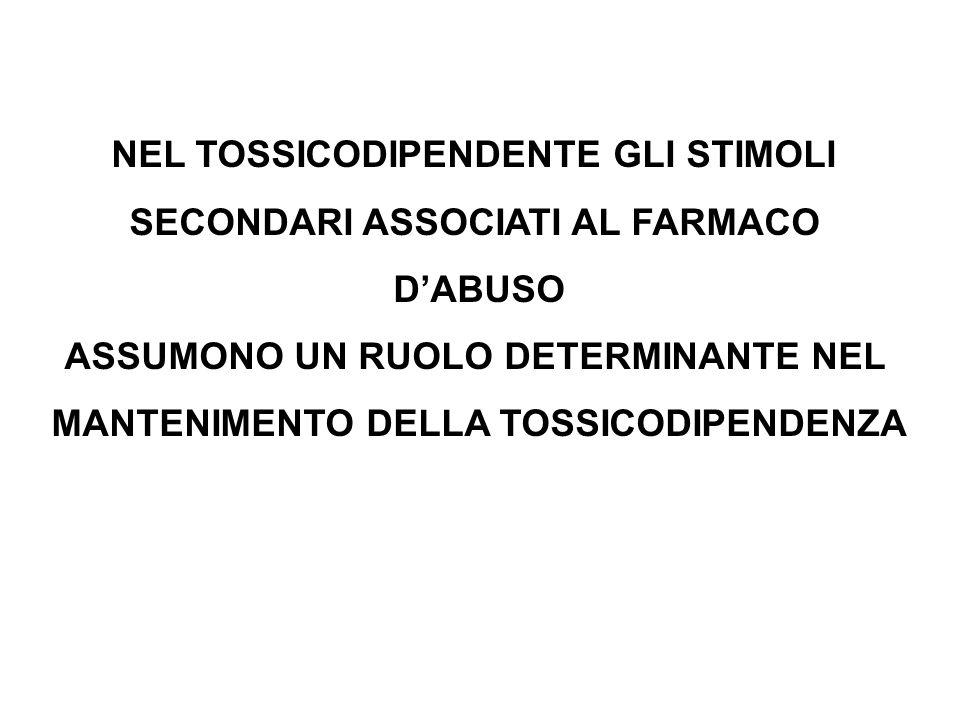 NEL TOSSICODIPENDENTE GLI STIMOLI SECONDARI ASSOCIATI AL FARMACO D'ABUSO ASSUMONO UN RUOLO DETERMINANTE NEL MANTENIMENTO DELLA TOSSICODIPENDENZA