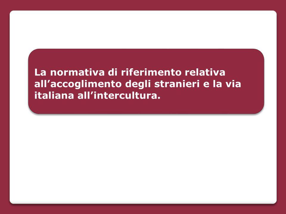 La normativa di riferimento relativa all'accoglimento degli stranieri e la via italiana all'intercultura.
