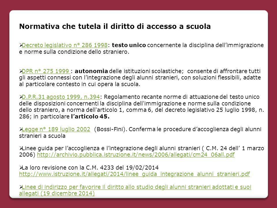  Linee guida per l'accoglienza e l'integrazione degli alunni stranieri ( C.M. 24 dell' 1 marzo 2006) http://archivio.pubblica.istruzione.it/news/2006