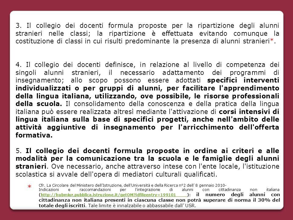 3. Il collegio dei docenti formula proposte per la ripartizione degli alunni stranieri nelle classi; la ripartizione è effettuata evitando comunque la