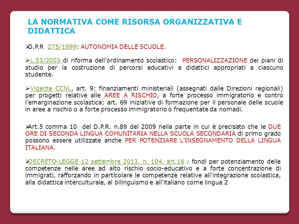  D.P.R 275/1999: AUTONOMIA DELLE SCUOLE.275/1999  L.53/2003 di riforma dell'ordinamento scolastico: PERSONALIZZAZIONE dei piani di studio per la cos