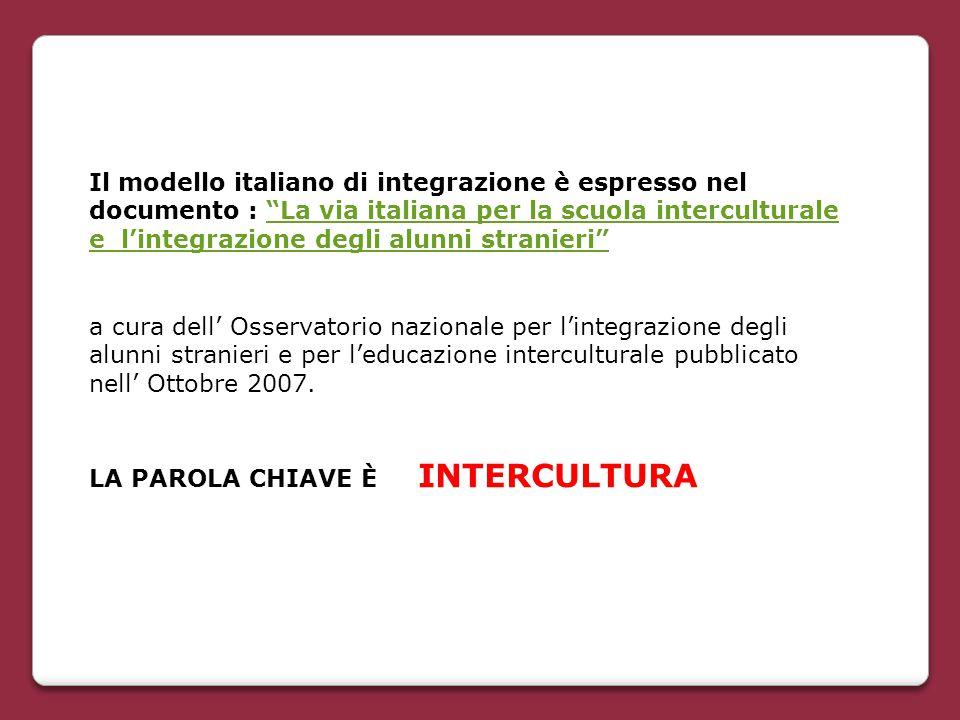 """Il modello italiano di integrazione è espresso nel documento : """"La via italiana per la scuola interculturale e l'integrazione degli alunni stranieri"""""""""""