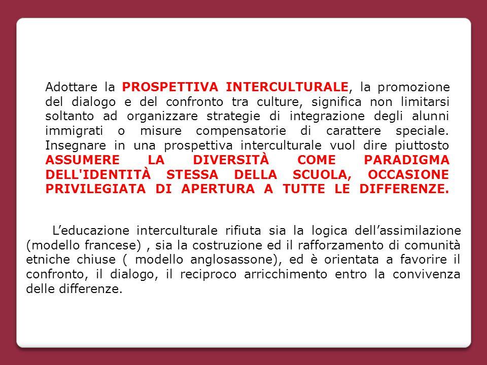 Adottare la PROSPETTIVA INTERCULTURALE, la promozione del dialogo e del confronto tra culture, significa non limitarsi soltanto ad organizzare strateg