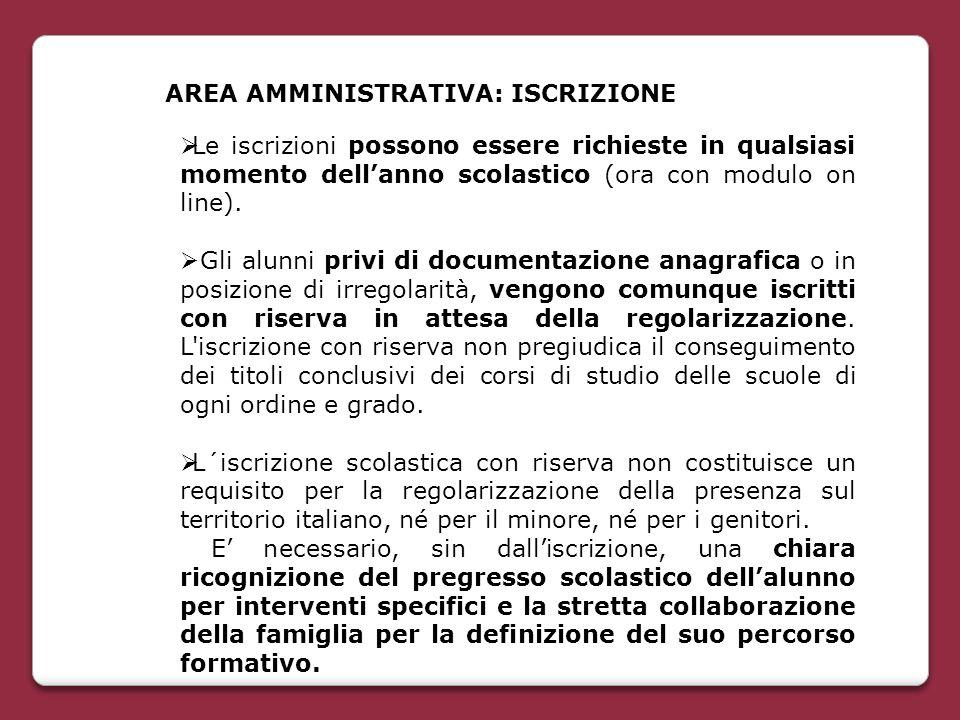 AREA AMMINISTRATIVA: ISCRIZIONE  Le iscrizioni possono essere richieste in qualsiasi momento dell'anno scolastico (ora con modulo on line).  Gli alu