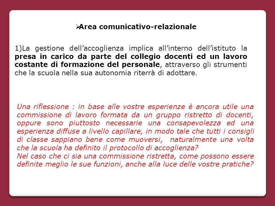  Area comunicativo-relazionale 1)La gestione dell'accoglienza implica all'interno dell'istituto la presa in carico da parte del collegio docenti ed u