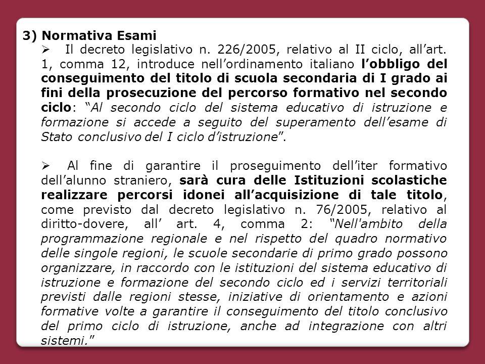 3) Normativa Esami  Il decreto legislativo n. 226/2005, relativo al II ciclo, all'art. 1, comma 12, introduce nell'ordinamento italiano l'obbligo del