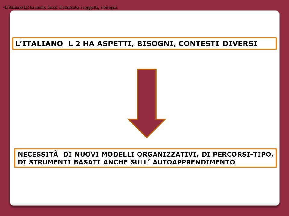 NECESSITÀ DI NUOVI MODELLI ORGANIZZATIVI, DI PERCORSI-TIPO, DI STRUMENTI BASATI ANCHE SULL' AUTOAPPRENDIMENTO L ' italiano L2 ha molte facce: il conte