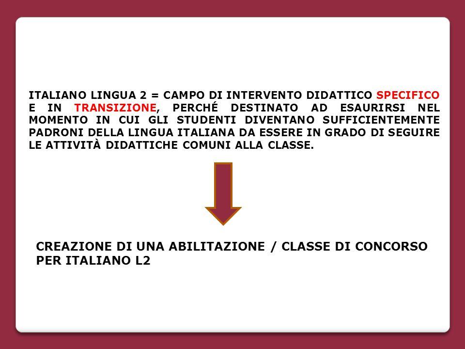 ITALIANO LINGUA 2 = CAMPO DI INTERVENTO DIDATTICO SPECIFICO E IN TRANSIZIONE, PERCHÉ DESTINATO AD ESAURIRSI NEL MOMENTO IN CUI GLI STUDENTI DIVENTANO