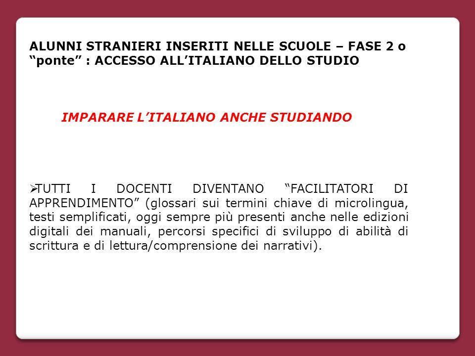 """ALUNNI STRANIERI INSERITI NELLE SCUOLE – FASE 2 o """"ponte"""" : ACCESSO ALL'ITALIANO DELLO STUDIO IMPARARE L'ITALIANO ANCHE STUDIANDO  TUTTI I DOCENTI DI"""