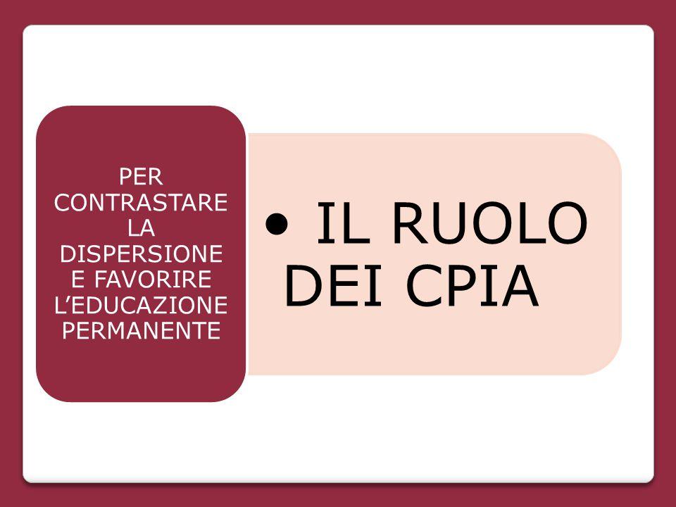 IL RUOLO DEI CPIA PER CONTRASTARE LA DISPERSIONE E FAVORIRE L'EDUCAZIONE PERMANENTE