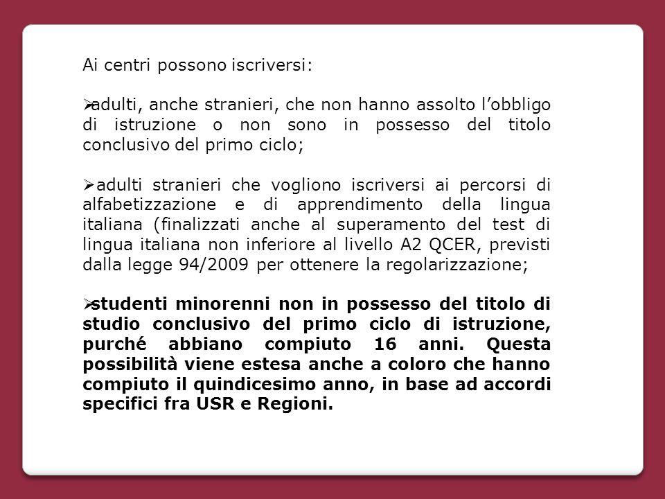 Ai centri possono iscriversi:  adulti, anche stranieri, che non hanno assolto l'obbligo di istruzione o non sono in possesso del titolo conclusivo de