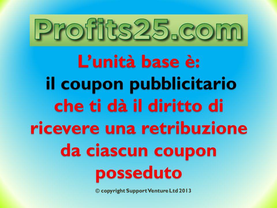 L'unità base è: il coupon pubblicitario che ti dà il diritto di ricevere una retribuzione da ciascun coupon posseduto © copyright Support Venture Ltd