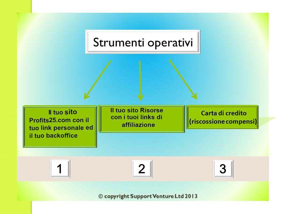 Strumenti operativi 32 1 Carta di credito (riscossione compensi) © copyright Support Venture Ltd 2013