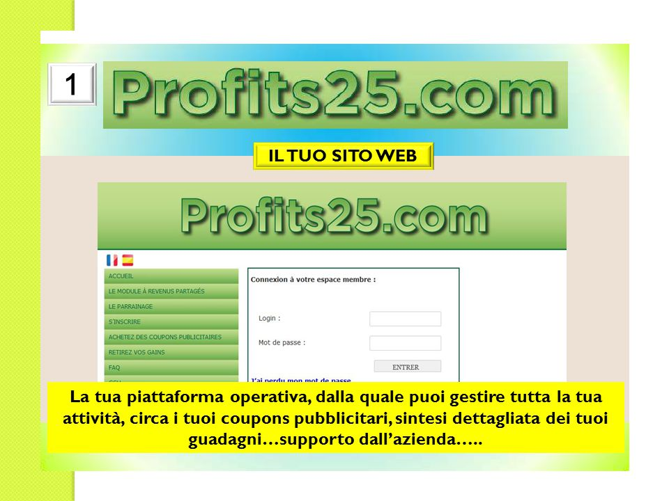IL TUO SITO WEB 1 La tua piattaforma operativa, dalla quale puoi gestire tutta la tua attività, circa i tuoi coupons pubblicitari, sintesi dettagliata dei tuoi guadagni…supporto dall'azienda…..